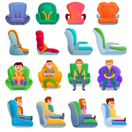 Baby car seat icons set. Cartoon set of baby car seat vector icons for web design