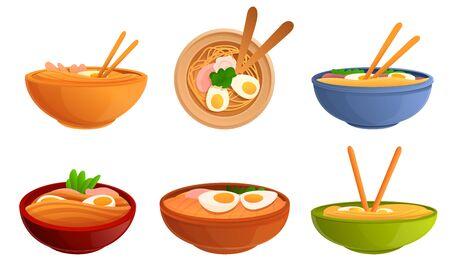 Ramen icons set. Cartoon set of ramen icons for web design