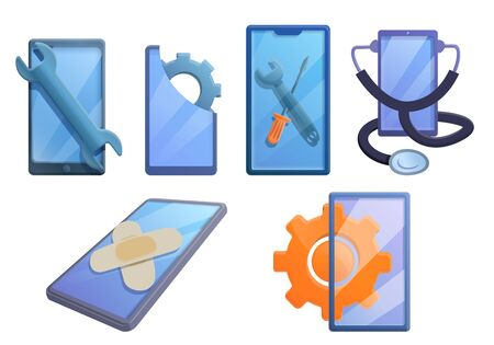 Mobile phone repair icons set. Cartoon set of mobile phone repair vector icons for web design