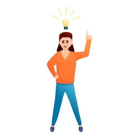 Femme trouver l'icône d'idée. Caricature de femme trouver l'icône vecteur idée pour la conception web isolé sur fond blanc