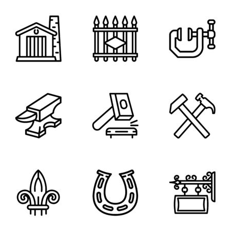 Blacksmith equipment icon set. Outline set of 9 blacksmith equipment icons for web design isolated on white background