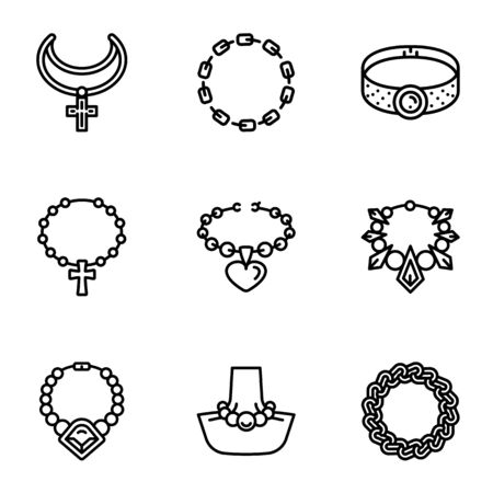 Metal jewelry icon set. Outline set of 9 metal jewelry icons for web design isolated on white background