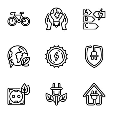 Eco energy source icon set. Outline set of 9 eco energy source icons for web design isolated on white background