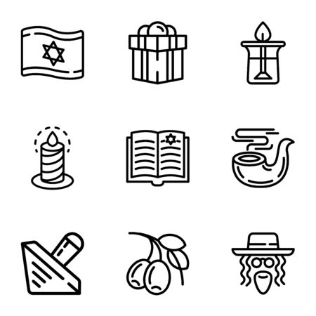 Judaism objects icon set. Outline set of 9 judaism objects icons for web design isolated on white background