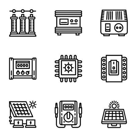 Solar energy supply icon set. Outline set of 9 solar energy supply icons for web design isolated on white background