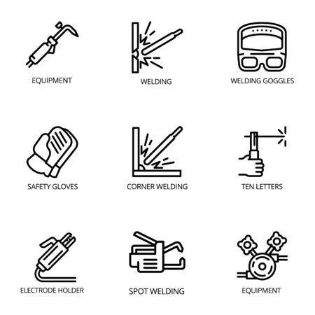 Welding tools icon set. Outline set of 9 welding tools icons for web design isolated on white background