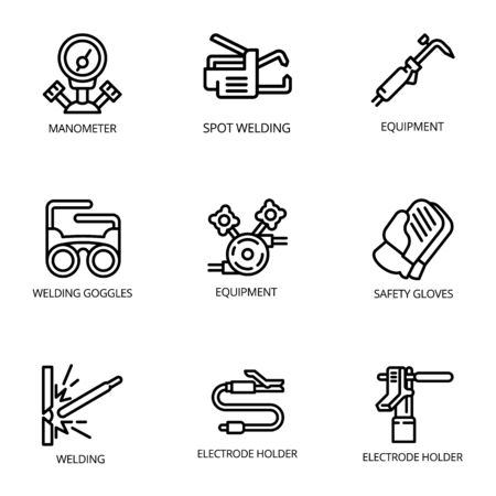 Welder tools icon set. Outline set of 9 welder tools icons for web design isolated on white background