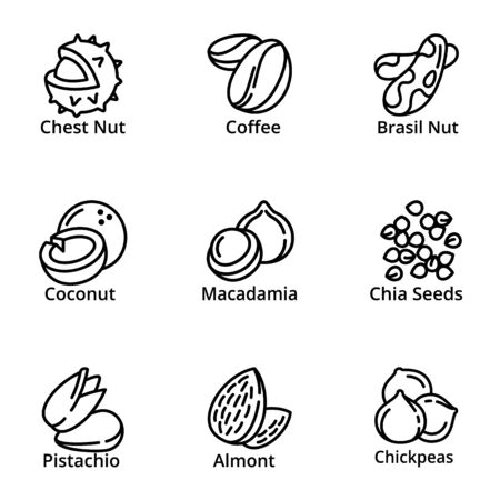 Eco nuts icon set. Outline set of 9 eco nuts icons for web design isolated on white background