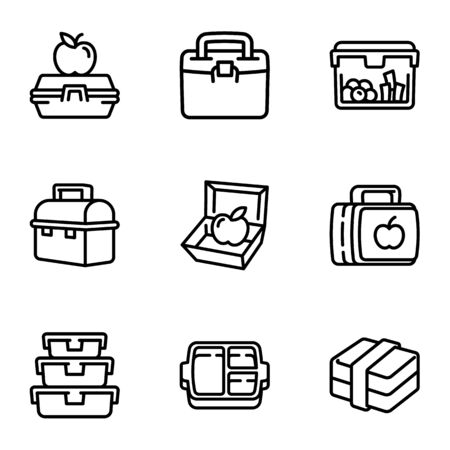 Plastic lunch box icon set. Outline set of 9 plastic lunch box icons for web design isolated on white background Banco de Imagens