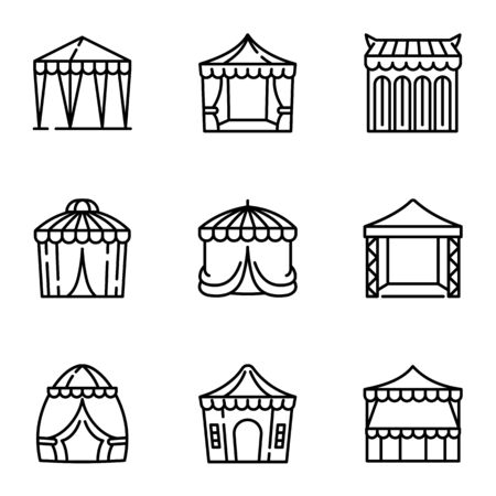 Party tent icon set. Outline set of 9 party tent icons for web design isolated on white background