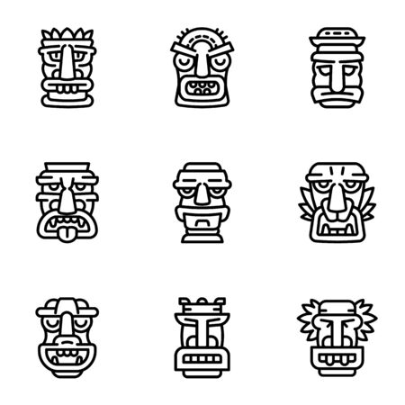 Tribal idol icon set. Outline set of 9 tribal idol icons for web design isolated on white background Stockfoto