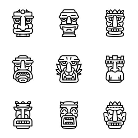 Ancient idol icon set. Outline set of 9 ancient idol icons for web design isolated on white background Stockfoto