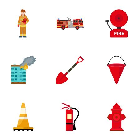 Firefighter equipment icon set. Flat set of 9 firefighter equipment icons for web design isolated on white background Foto de archivo - 132388539
