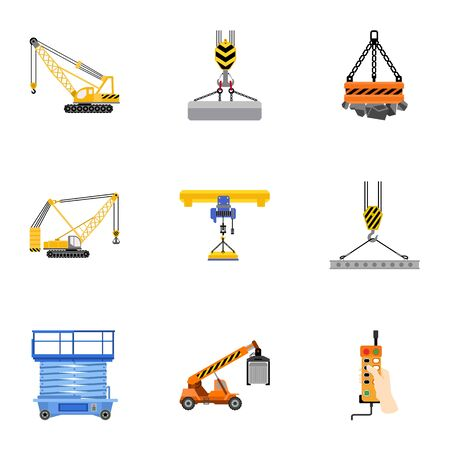 Lifting platform icon set. Flat set of 9 lifting platform icons for web design isolated on white background Stock fotó