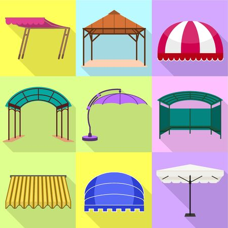 Canopy icon set. Flat set of 9 canopy icons for web design isolated on white background 版權商用圖片