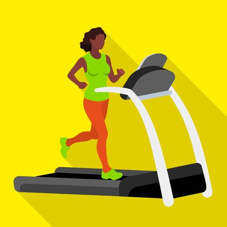 Afro american woman on treadmill icon. Flat illustration of afro american woman on treadmill icon for web design