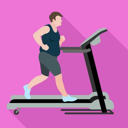 Man lose weight treadmill icon. Flat illustration of man lose weight treadmill icon for web design Archivio Fotografico - 132317169