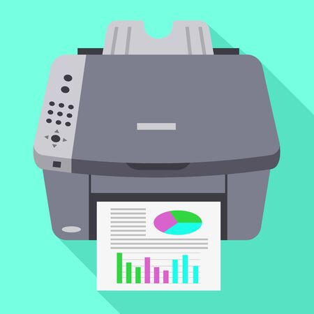 Color office printer icon. Flat illustration of color office printer icon for web design