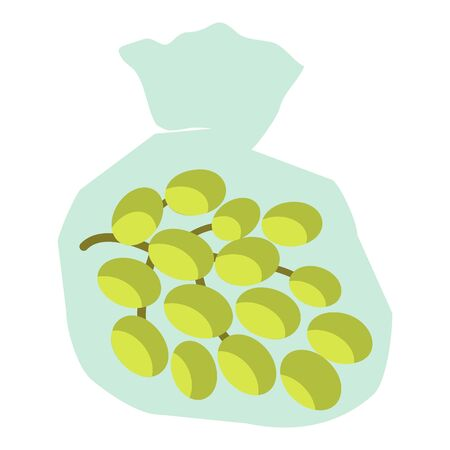 Green grapes icon. Flat illustration of green grapes icon for web design