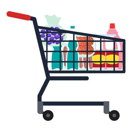 Full shop cart icon. Flat illustration of full shop cart icon for web design
