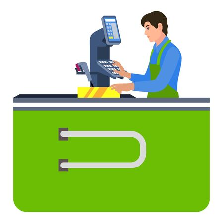 Cashier man icon. Flat illustration of cashier man icon for web design Stok Fotoğraf