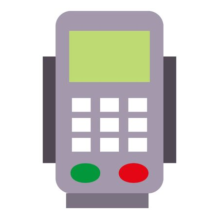 Bank payment terminal icon. Flat illustration of bank payment terminal icon for web design