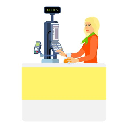 Blonde woman cashier icon. Flat illustration of blonde woman cashier icon for web design Stock fotó