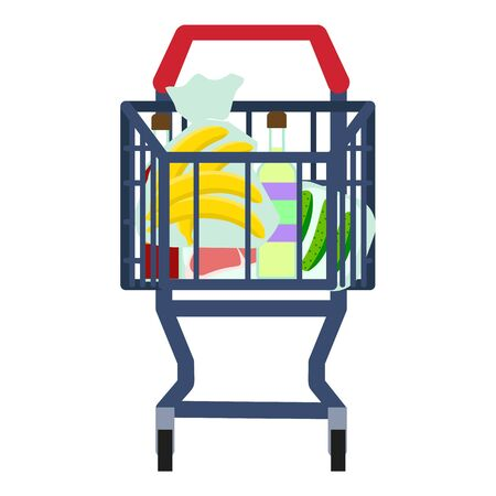 Full front shop cart icon. Flat illustration of full front shop cart icon for web design 版權商用圖片