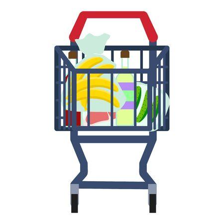 Full front shop cart icon. Flat illustration of full front shop cart icon for web design Stock Photo
