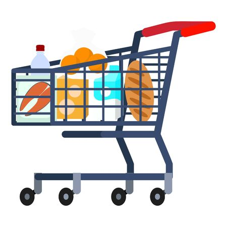 Full shop cart icon. Flat illustration of full shop cart icon for web design Stock Illustration - 132321437