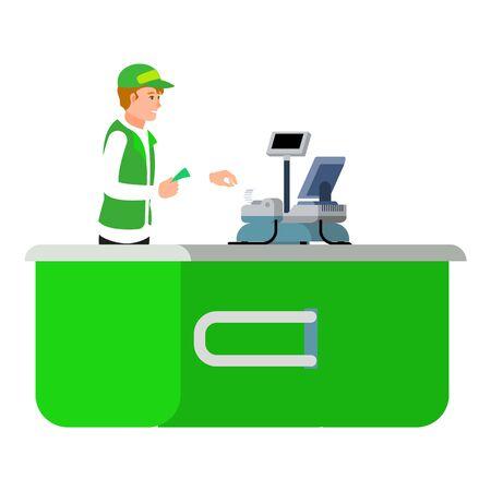 Man green cashier icon. Flat illustration of man green cashier icon for web design
