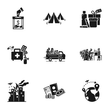 Refugees help icon set. Simple set of 9 refugees help icons for web design isolated on white background Banque d'images