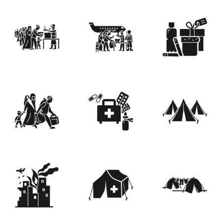 Migrant refugee icon set. Simple set of 9 migrant refugee icons for web design isolated on white background