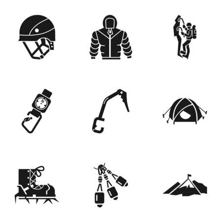 Rock climbing icon set. Simple set of 9 rock climbing icons for web design isolated on white background Stok Fotoğraf