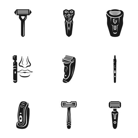 Electric shaver icon set. Simple set of 9 electric shaver icons for web design isolated on white background