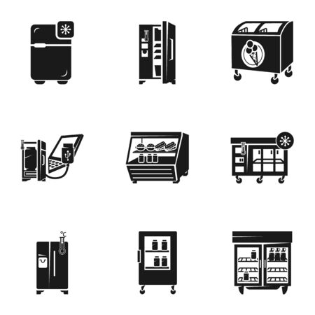 Refrigerator icon set. Simple set of 9 refrigerator icons for web design isolated on white background Stockfoto