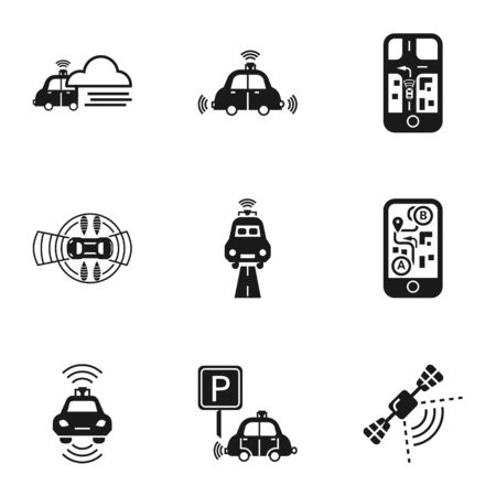 Modern driverless car icon set. Simple set of 9 modern driverless car icons for web design isolated on white background Stock fotó