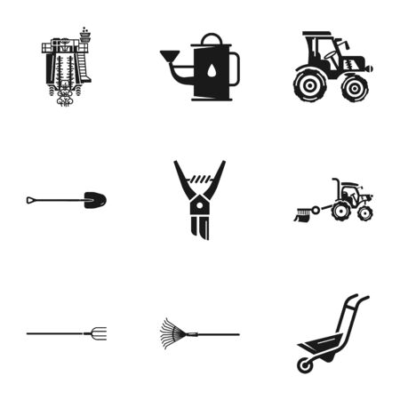 Garden tools icon set. Simple set of 9 garden tools icons for web design isolated on white background Banco de Imagens