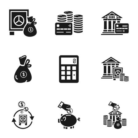 Bank finance icon set. Simple set of 9 bank finance icons for web design isolated on white background Stockfoto