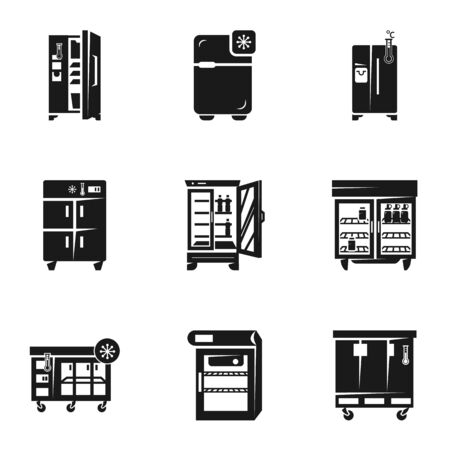 Commercial fridge icon set. Simple set of 9 commercial fridge icons for web design isolated on white background