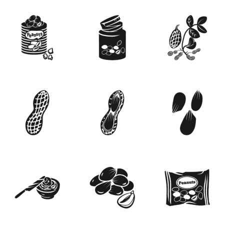 Healthy peanut icon set. Simple set of 9 healthy peanut icons for web design isolated on white background