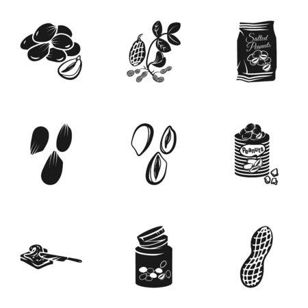 Tasty peanut icon set. Simple set of 9 tasty peanut icons for web design isolated on white background