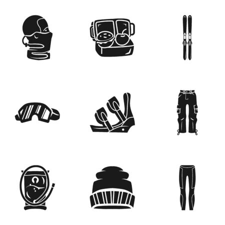 Winter sport equipment icon set. Simple set of 9 winter sport equipment icons for web design isolated on white background