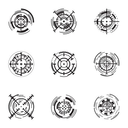 Digital target icon set. Simple set of 9 digital target icons for web design isolated on white background 스톡 콘텐츠