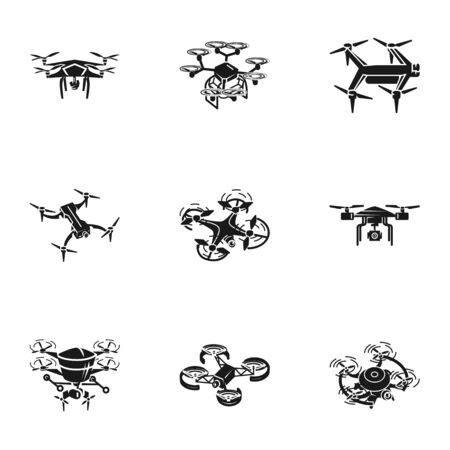 Delivery drone icon set. Simple set of 9 delivery drone icons for web design isolated on white background Reklamní fotografie