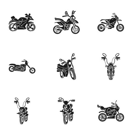 Racing motorbike icon set. Simple set of 9 racing motorbike icons for web design isolated on white background