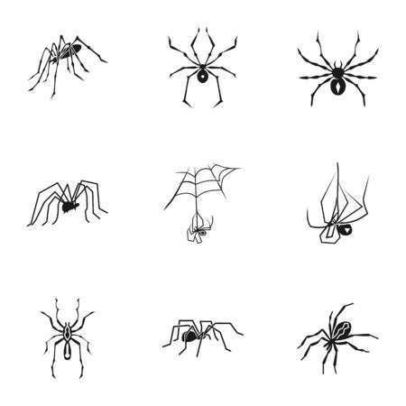 Dark spider icon set. Simple set of 9 dark spider icons for web design isolated on white background