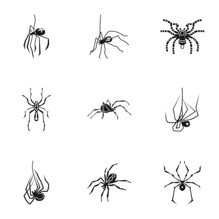 Danger spider icon set. Simple set of 9 danger spider icons for web design isolated on white background