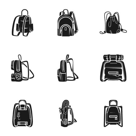 Hiking backpack icon set. Simple set of 9 hiking backpack icons for web design isolated on white background Stock fotó