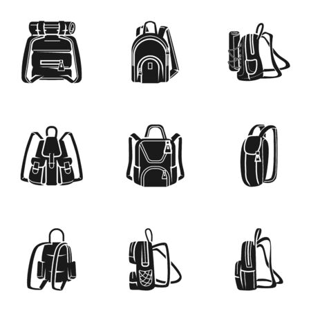Adventure backpack icon set. Simple set of 9 adventure backpack icons for web design isolated on white background